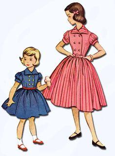 1950s Vintage Toddler Girls Dress 1953 McCalls VTG Sewing Pattern 9524 Size 6