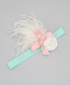 Take a look at this White & Aqua Prim Headband by London Raquel on #zulily today!