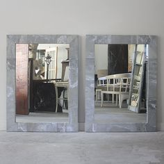 """Pair of Naturally Patinated Zinc Frame Wrapped Mirrors. This is an RT Facts original design and can be built to suit custom measurements.  Mirrors Shown; 31""""W x 42.5""""H"""
