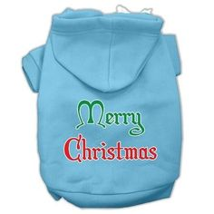 Merry Christmas Screen Print Pet Hoodies Baby Blue Size Med (12)