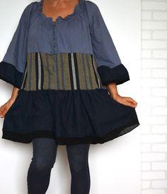 upcycled clothing dress cotton dress blue dress boho by smArtville, $60.44