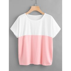 Color Block Tee ($5.99) ❤ liked on Polyvore featuring tops, t-shirts, white, short sleeve tops, white tees, round neck t shirts, stretch t shirt and short sleeve t shirt