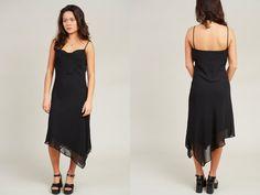 1990s Jessica Black Spaghetti Strap Mini Dress  S by SoftServeVintage