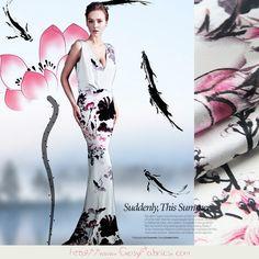 Telas de flores - Tela de Elastano Satén de seda con motivos flores - hecho a mano por FabricMade en DaWanda