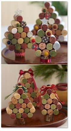 """18 – 24 corks    Start with four corks, glue them together to make the base of the tree. Add five corks to the next level, letting them hang over on each side slightly. Continue adding four, then three, then two, then one cork to each layer corks on the  Randomly  paint ends as desired.Decorate with ribbon, fabric, buttons or any notions you may have, Attach the tree to the 2"""" base."""