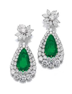 Very attractive pair of emerald and diamond pendent ear clips, Van Cleef & Arpels, circa 1970
