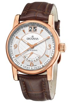 Price:$466.39 #watches Grovana 1721.1562, Grovana is a firm that has made a name for itself in the Swiss watch making industry through innovation and flexibility. Up to the 1970s it made mechanical watches that were always state of the art. Men's Day, Watches For Men, Wrist Watches, Men's Watches, Luxury Watches, Brown Leather, Jewelry, Random Stuff, Swiss Watch