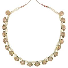 Indian Triple Strand Seed Pearl, Enamel and Foiled-Back Diamond and Cord Necklace for Sale at Auction on Wed, - - Important Estate Jewelry Indian Jewellery Design, Bead Jewellery, Indian Jewelry, Jewelry Art, Fashion Jewelry, Jewelry Design, Real Pearl Necklace, Pearl Jewelry, Pendant Jewelry
