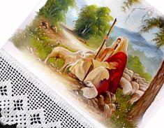 """Pano de Copa  Jesus o Bom Pastor  pintado à mão  """"Eu sou o bom Pastor; o bom Pastor dá a sua vida pelas ovelhas. (João 10:12)""""  dimensões: pano 70x47cm  área de pintura aprox. 40x40 cm  barrado em croche R$ 45,45"""