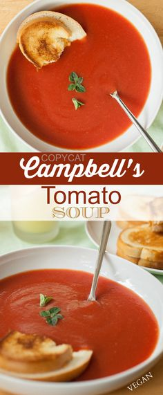 This soup is spot-on, you guys. It's pretty shocking really. So, if you have a weird obsession with the taste of Campbell's canned tomato so.../ I do!!!