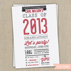 High School, College graduation party invitation / announcement.
