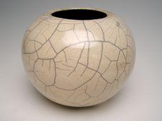 Vase Raku pottery white crackle vase t-1 by Letsgetmuddy on Etsy