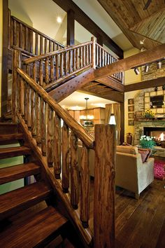 A Minneapolis family's vacation home on Lake Superior gives new life to old barns. Rustic Staircase, Wood Stairs, House Stairs, Open Staircase, Timber Stair, Stair Railing, Rebar Railing, Banisters, Cabin Homes