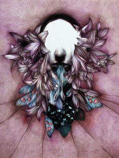 """""""Glossolalia"""" 2013 colored pencils on paper, cm 60x45, Marco Mazzoni"""