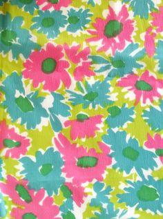 Vintage Mod Funky Flowers Crepe Fabric