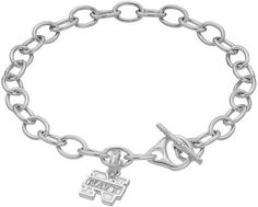 Dayna U Sterling Silver Navy Midshipmen Charm Toggle Bracelet