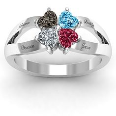 Mother's Ring - birthstone all kids (4 kids) or family ring (mom,dad, and two kids birthstones) life ring stone of the month u got married and three kids birth stones