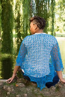 Heliconia by Adrienne Ku, a lacy triangular shawl knit in Louet Euroflax Lace