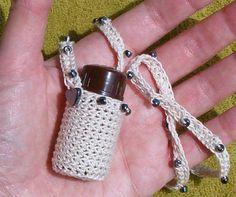 Beige Crochet Beaded 1/4 oz Amber Glass by WestiesArtwearGifts