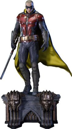 The Boy Wonder has grown up on the Batman: Arkham Knight Robin Polystone Statue, and he's not happy about it. In the world of Arkham Knight, Gotham Batman Arkham Knight Robin, Batman Y Superman, Batman Comics, Batman Armor, Game Character Design, Comic Character, Gotham, Univers Dc, Batman Action Figures