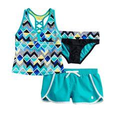 e9a50f30a1cba Girls 7-16 ZeroXposur Beatbox Bop Tankini Top & Bottoms & Shorts Swimsuit  Set,