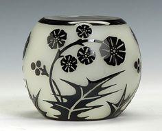 Steuben Mirror Black & Alabaster Vase