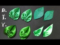DIY Satin ribbon rose, satin ribbon flower tutorial,how to,kanzashiHow to make ribbon leaves I Green leaves tutorial I DIY kanzashi Hello everyone ,enjoy my new tutorial on how to make green ribbon leaves.They are perfect finish for ribbon or fabric flowe Satin Ribbon Flowers, Ribbon Art, Fabric Ribbon, Ribbon Crafts, Flower Crafts, Fabric Flowers, Ribon Flowers, Satin Ribbons, Diy Crafts