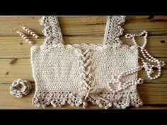 Crochet Baby Sweaters, Crochet Shirt, Knit Or Crochet, Crochet Clothes, Crochet Summer Tops, Crochet Bikini Top, Crochet Lingerie, Mode Du Bikini, Black Crochet Dress