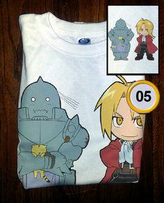 Soft Premium Quality Custom Full Metal Alchemist Edward and Al Chibi Cosplay T-Shirt Tee