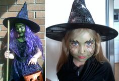 Great little witch costumes and witch face paint idea - Kids fancy dress ideas Halloween Makeup For Kids, Diy Halloween Treats, Kids Makeup, Homemade Halloween Costumes, Halloween Party, Halloween Ideas, Halloween Stuff, Witch Costumes, Cool Costumes