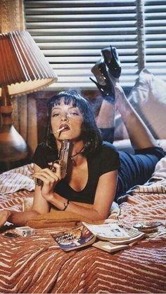genterie — Uma Thurman as Mia Wallace in, Pulp Fiction Mia Wallace, Film Aesthetic, Aesthetic Photo, Uma Thurman Pulp Fiction, Photographie Portrait Inspiration, Kino Film, Winona Ryder, Quentin Tarantino, Poses