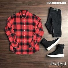 Today's top #outfitgrid is by @shanebryant. ▫️#Supreme #ButtonUp ▫️#FearOfGod #Denim & #Sneakers #flatlay #flatlays #flatlayapp www.flat-lay.com