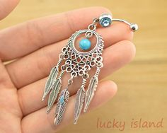 Dream catcher belly button jewelry,dream catcher belly button rings,feather belly ring,turquoise bellyring,friendship bellyring on Etsy, $8.39