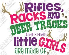 Rifles Racks and Deer Tracks, That's What Little Girls Are Made OfVinyl ShirtDecal Cutting File in SVG, EPS, DXF, JPEG, and PNG Format for Cricut, Silhouette, and Brother ScanNCut Cutting Machines  Overview  Contents: 1 Zipped Folder Containing:  1 SVG Digital Cutting File 1 EPS Digital Cutting File 1 DXF Digital Cutting File 1 PNG Transparent Clipart File 1 JPEG White Background Clipart File   Compatible With:  Cricut Design Space Silhouette Studio Basic Edition Silhouette…