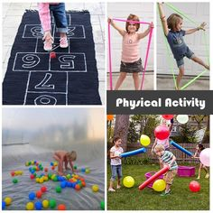 Some activity ideas to help get the kids moving this summer!  The kids would love the pool noodle battle.
