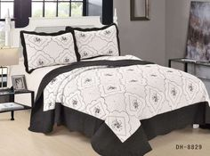 Black White Embroidered Quilted Bedspread Set bed throw with 2 Pillow Shams