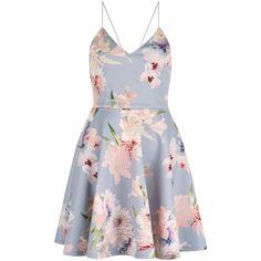 Light Grey V Neck Floral Print Skater Dress (£30) ❤ liked on Polyvore featuring dresses, flower pattern dress, v neckline dress, floral v neck dress, flower print skater dress and v-neck dresses