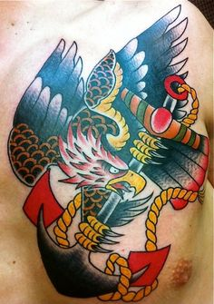 Fantastic traditional eagle tattoo by brendan at our for Gilded heart tattoo