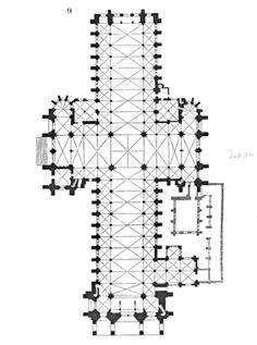 Catedral de Laon. Su construcción fue iniciada a mediados del siglo XII en incipiente estilo Gótico, siendo, cronológicamente, una de las primeras catedrales góticas. Se la considera una de las primeras obras maestras del Gótico francés y un ejemplo de la transición a este estilo desde el Románico, siendo construida antes de la catedral de París y después de Saint Denis y Noyon. Planta
