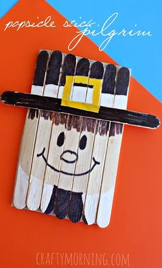 Popsicle Stick Pilgrim Craft for Thanksgiving #Kidscraft | CraftyMorning.com