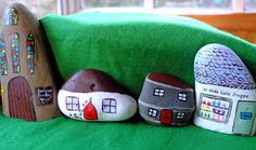 Stone Craft - A Village for The Little People  ~I love how the one on the left looks like a cathedral~