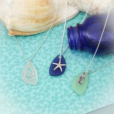 Sea Glass Beach Charm Necklace, Unique Sterling Silver Beach Jewelry, Sea Glass Wave Necklace, Vacation Jewelry Cruise Beachwear Necklace #MermaidNecklace #BeachNecklace #MermaidJewelry #HandStampedJewelry #CruiseWear #VacationJewelry #ShoreJewelry #BeachJewelry #BeachGirlNecklace #BeachGirlJewelry