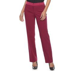 Women's Apt. 9® Torie Satin Waistband Curvy Straight-Leg Dress Pants, Size: 16 Short, Red
