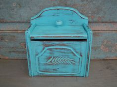 Recipe Box Wooden Turquoise Distressed Wheat $12