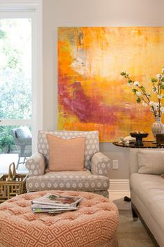 Artist, Johnny Apodaca.  Via Houzz: Elegant Townhome in Pasadena - Charmean Neithart Interiors, LLC.