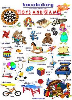 Toys and Games - Visual Vocabulary Study - English Learn Site English Time, Kids English, English Course, English Study, English Words, English Lessons, English Grammar, Learn English, English Language Learning
