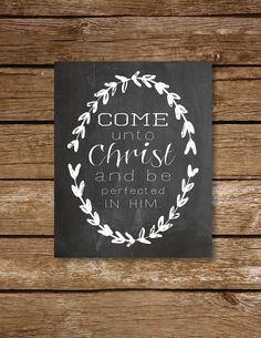 8x10 2014 Young Women theme printable download laurel chalkboard Come Unto Christ, LDS YW subway art, mormon prints