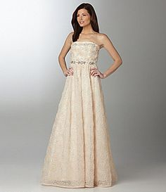 Hem to tea length, use excess material to make wrap   Adrianna Papell Strapless Rosette Gown #Dillards