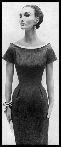 Evelyn Tripp in elegant blue linen sheath with white piqué neckline, Harper's Bazaar, January 1954