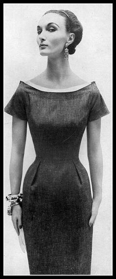 Evelyn Tripp in elegant blue linen sheath with white piqué neckline, Harper's Bazaar, January 1954